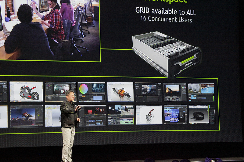 The NVIDIA GRID Visual Computing Appliance can serve 16 concurrent users with high-performance, graphics-intensive applications.