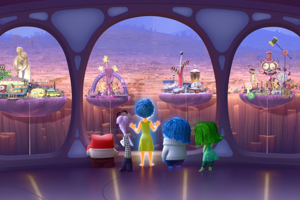 INSIDE OUT –Anger, Fear, Joy, Sadness and Disgust look out upon Riley's Islands of Personality. ©2015 Disney•Pixar. All Rights Reserved.