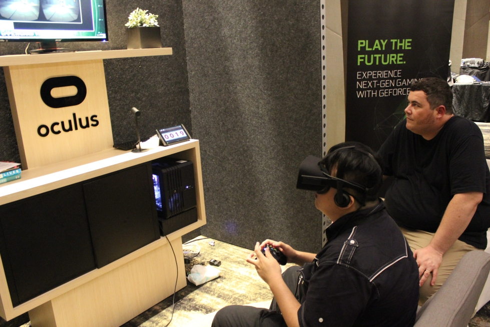 Totally engaged in a game with Oculus Rift.