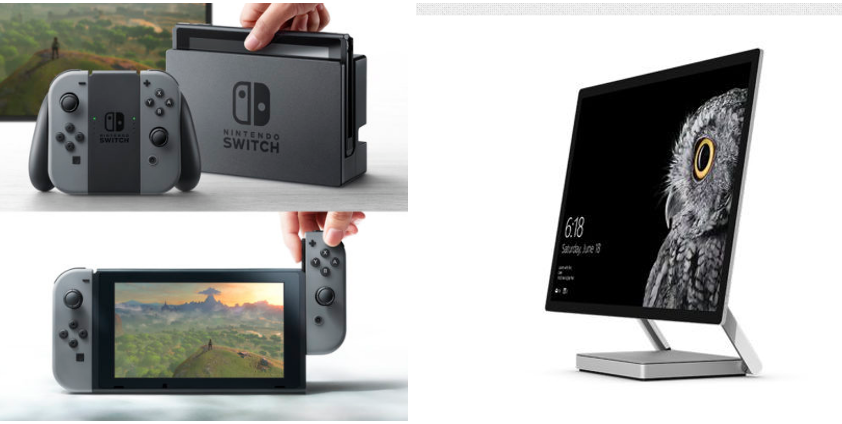 NVIDIA provides the graphics grunt for both the Nintendo Switch (left) and the Surface Studio (right).